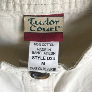 Tudor Jackets & Coats - Tudor Count Cream Denim Jacket Sz M Brown Buttons